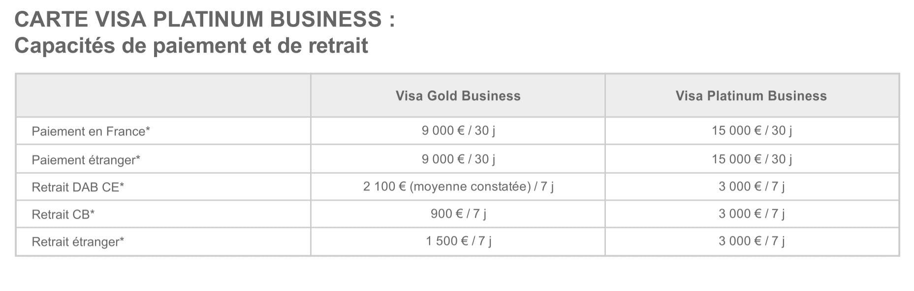 Carte Visa Platinum Business